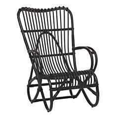 Chaise longue rotin noir Dick KOK