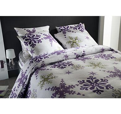 parure de lit drap flanelle flocon neige. Black Bedroom Furniture Sets. Home Design Ideas
