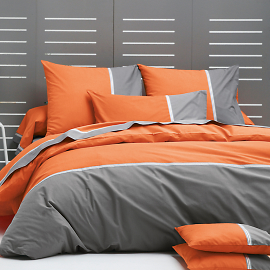 housse de couette orange et gris id e. Black Bedroom Furniture Sets. Home Design Ideas
