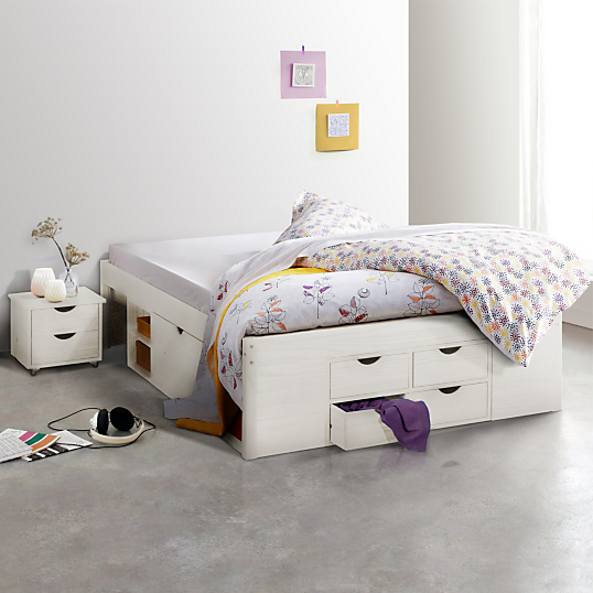 lit multi rangement inca teinte blanc 160 x 200 cm. Black Bedroom Furniture Sets. Home Design Ideas