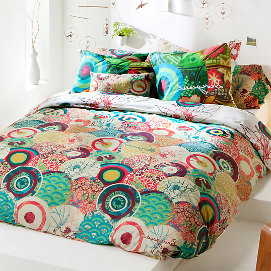Parure de lit percale japanese desigual for Housse de couette multicolore