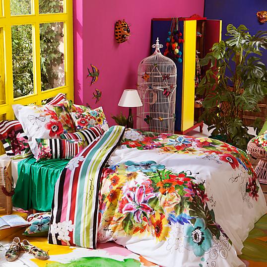 Parure de lit percale jungle desigual for Housse de couette jungle