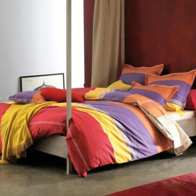 Parure de lit Santa Fe BLANC DES VOSGES, Carmin