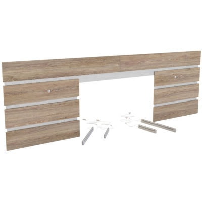 Environnement de lit avec éclairage Aaron. Dimensions utiles : - Traverse : 22 mm. Structure et finition : - Panneaux de particules recouverts