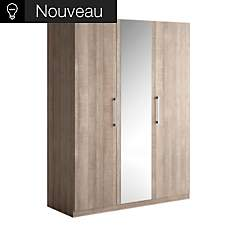 Armoire 3 portes battantes bois  et miro...