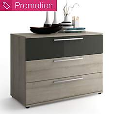 Commode 3 tiroirs Delphy gris