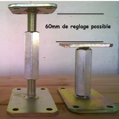 Pieds de poteaux réglables sur 6 cm