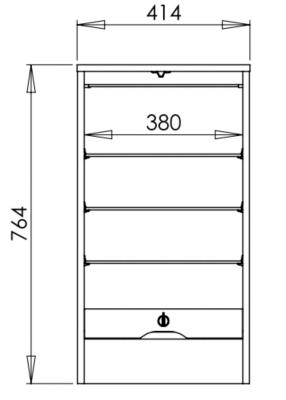 Classeur rideau simple h.76,4  cm