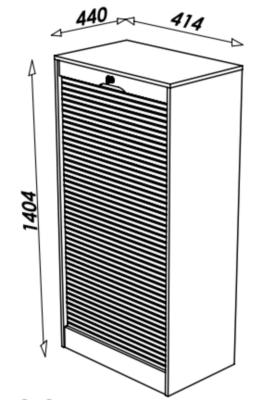 Classeur à rideau double, hauteur 140,4  cm