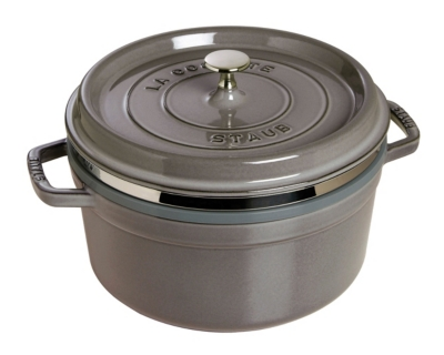 Cocotte  ronde STAUB avec cuit vapeur  26 cm gris graphite