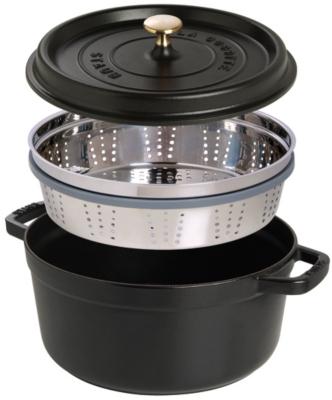 Cocotte  ronde STAUB avec cuit vapeur  26 cm noir mat