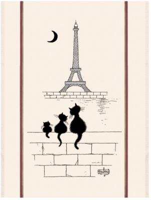 Grand torchon Chats Tour Eiffel TORCHONS  & BOUCHONS