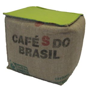 Pouf cube Café Doux LILOKAWA, vert anis