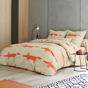 Taie d'oreiller percale Mr Fox SCION  LIVING, mandarine