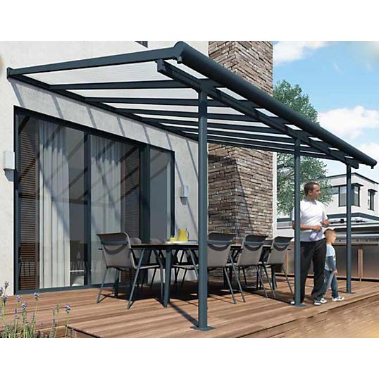 abri de terrasse structure grise et toit translucide 3x5 m chalet et jardin. Black Bedroom Furniture Sets. Home Design Ideas