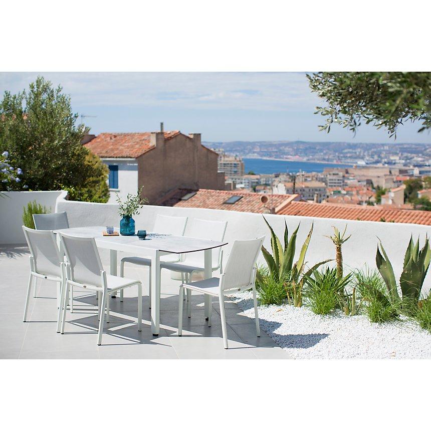 Table de balcon extensible Ticao blanc et béton ciré LES JARDINS