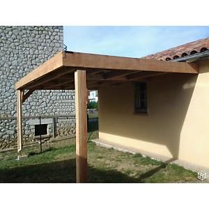 Abri voiture adossé toit plat en bois  douglas CPBF