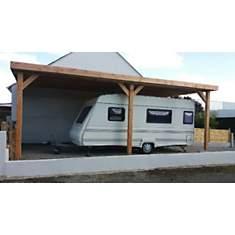 Abri camping car adossé toit plat en  bo...