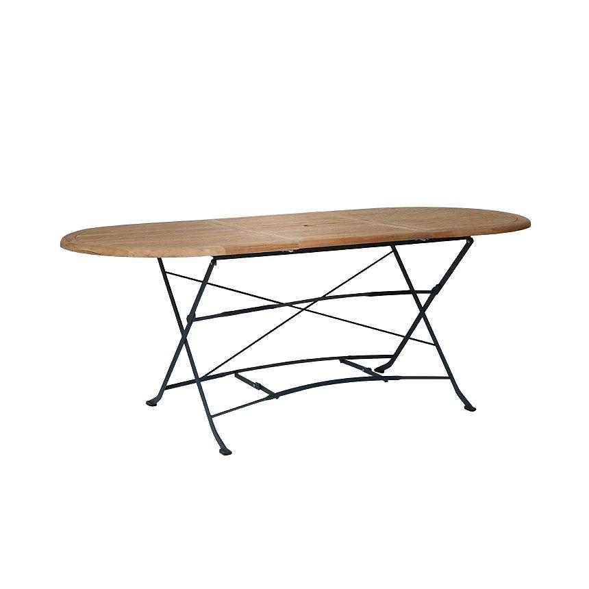 Table pliante ovale extensible en métal et acacia
