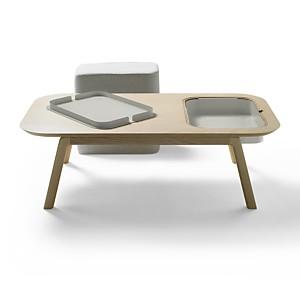 Table basse Thomas & Florian avec casier  et pouf CAMIF EDITION
