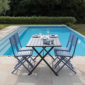 Ensemble guéridon Globe 160 x 78 gris et  4 chaises pliantes Lucca bleu cobalt