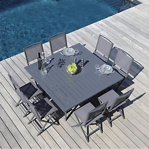 Ensemble table Barcelona 140 et 8  chaises Ida pliantes gris