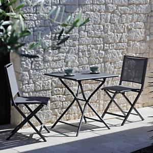 Ensemble guéridon Globe carré 70 cm et 2  chaises pliantes Ida gris
