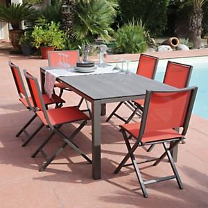 Ensemble Table Stoneo café et 6 chaises  pliantes Ida café/paprika