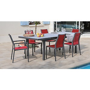 Ensemble Table Tavera 180/240 et 6  chaises Ida grey/rouge