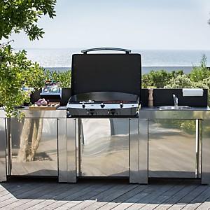 Cuisine d'extérieur en inox ENO avec  plancha Riviera 75, plan de travail et