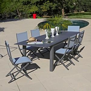 Ensemble Table Arano 180/240 X100 et 6 chaises bleu MEDICIS