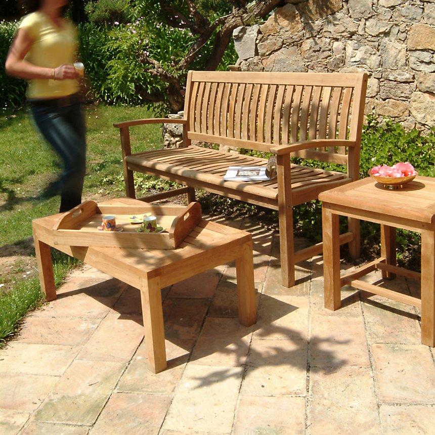 Table basse rectangulaire 50X90 cm en teck massif brut