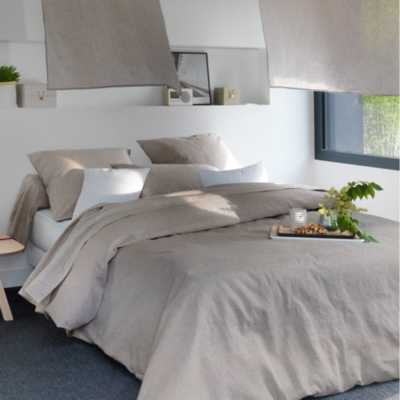 Drap housse Chambray Lin Catherine et  Francine CAMIF EDITION, beige