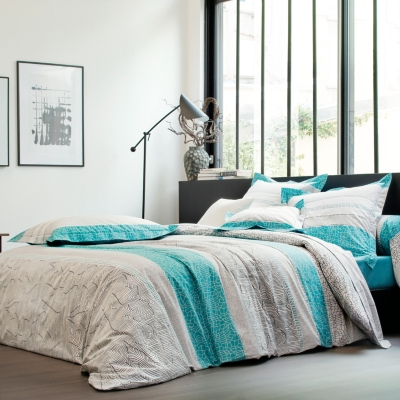 drap percale cadences blanc des vosges bleu canard. Black Bedroom Furniture Sets. Home Design Ideas
