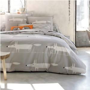 Taie d'oreiller percale Mr Fox Gris  SCION LIVING