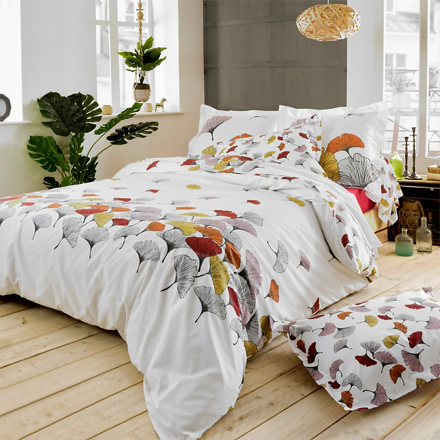 Taie d'oreiller percale Ginko rose  TRADILINGE