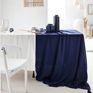 Nappe Coton lavé Cyclade, Bleu