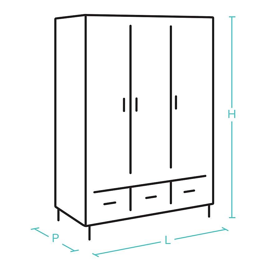 Armoire 3 portes coulissantes  Mathilda blanchi