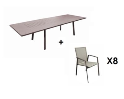 Ensemble table Barcelona 220/300 et 8  fauteuils rouille OCEO