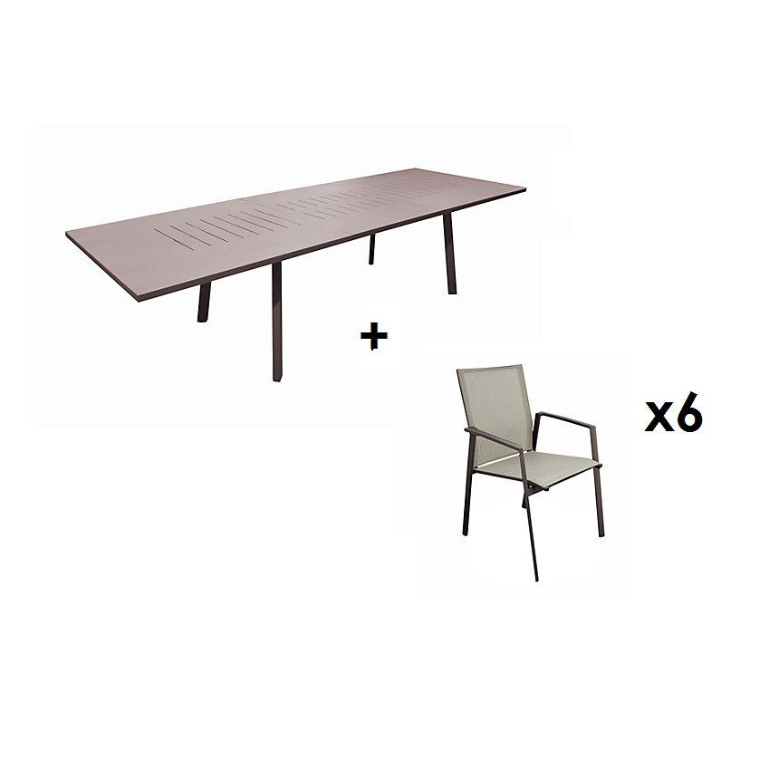 Ensemble table Barcelona 180/240 et 6  fauteuils Sparta rouille OCEO