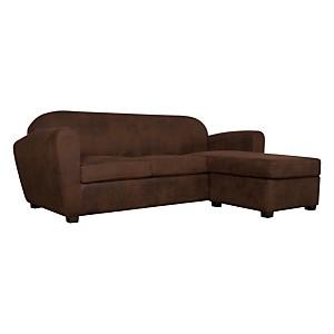Canapé d'angle microfibre aspect cuir  vieilli Owen