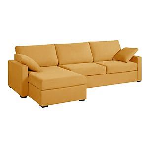 Canapé d'angle convertible tissu coton déhoussable Oslo