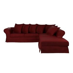 Canapé d'angle tissu coton-lin déhoussab le Maéva