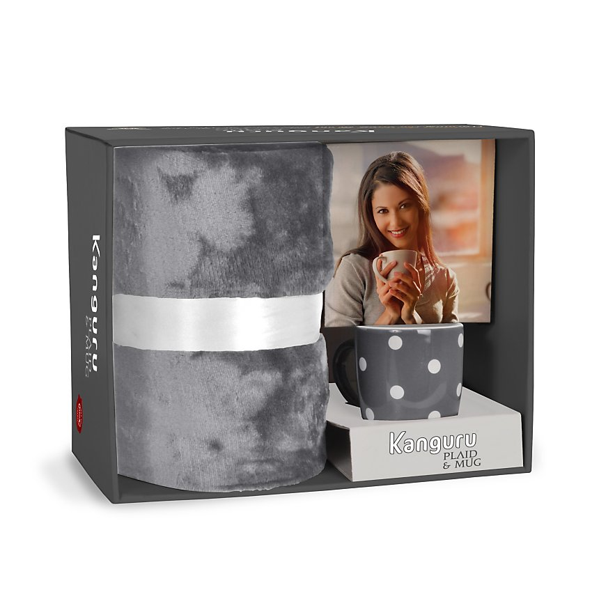 Coffret Plaid & mug KANGURU, gris