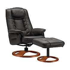 Fauteuil relax + pouf cuir Nec