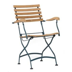 Lot de 2 fauteuils pliant en métal et acacias