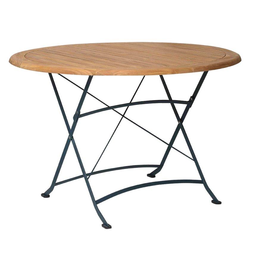 Table pliante ronde en métal et acacia