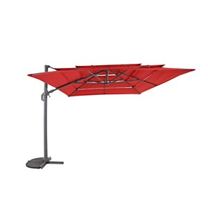 Parasol grand vent inclinable orientable  3x4m rouge MEDICIS