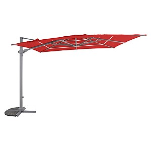 """Parasol """"prestige""""mat carré ventilé  inclinable orientable rouge piment"""