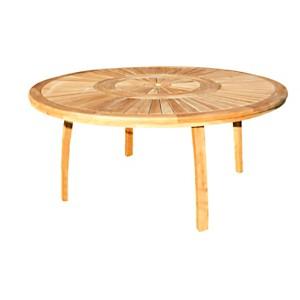 Table en teck massif brut avec plateau  tournant